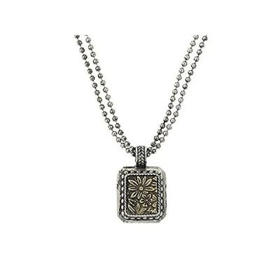 【新品】1928 Jewelry シルバートーン 真鍮 スクエアペンダントネックレス 16インチ 調節可能