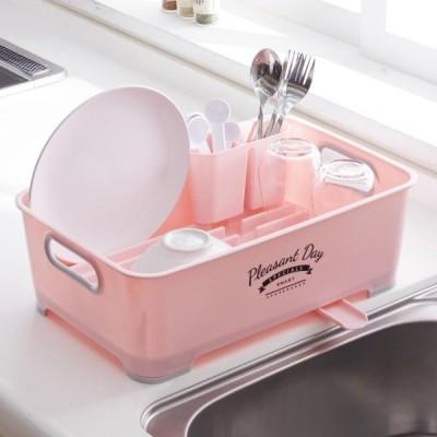 縦横置ける水切りかご[日本製] カラー 「ピンク」