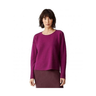 Eileen Fisher アイリーンフィッシャー レディース 女性用 ファッション セーター Organic Linen Cotton Crew Neck Box Top - Jam