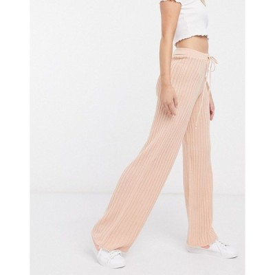 インザスタイル レディース カジュアルパンツ ボトムス In The Style x Lorna Luxe lullaby ribbed wide leg pants two-piece in blush Blush