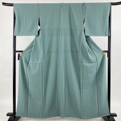 小紋 秀品 一つ紋 笹 青緑 単衣 身丈160.5cm 裄丈65.5cm M 正絹 中古