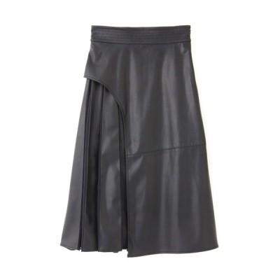 スカート ◆ブロックフェイクレザースカート