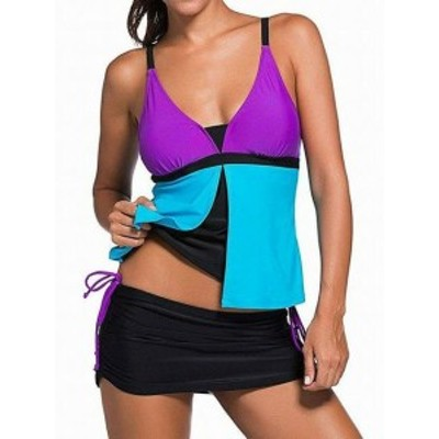 スポーツ用品 スイミング Chase Secret NEW Purple Blue Womens Medium M Tankini Colorblock Swimwear- #958