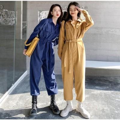 つなぎ 韓国 ストリート ダンス 衣装 K-POP 長袖 シャツ HIPHOP アメカジ オルチャン ベルト 作業着 ロングパンツ オールインワン 無地 ボトムス O-178