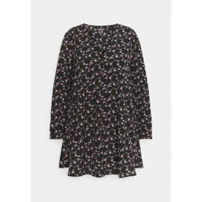 ミスガイデッド レディース ワンピース トップス BUTTON THRU SMOCK DRESS FLORAL - Day dress - black black