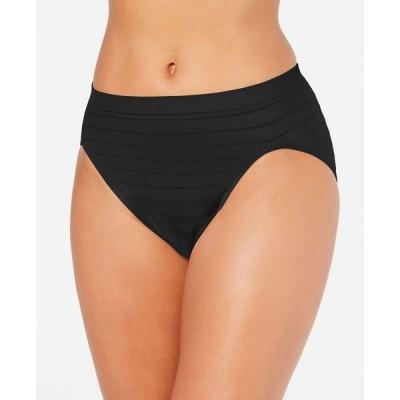 バリ Bali レディース ショーツのみ インナー・下着 Comfort Revolution Microfiber Hi Cut Brief Underwear 303J Black Stripe
