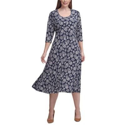 トミー ヒルフィガー レディース ワンピース トップス Plus Size Paisley Fit & Flare Midi Dress
