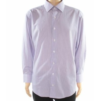ファッション ドレス E.B. Wood NEW Purple Mens Size 17 1/2 Stripe Tailored Fit Dress Shirt