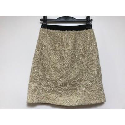 ジャスグリッティー JUSGLITTY スカート サイズ2 M レディース ベージュ×ゴールド スパンコール【中古】