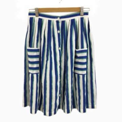 【中古】ポルテデブトン スカート フレア ひざ丈 ギャザー ストライプ 青 緑 ブルー グリーン レディース