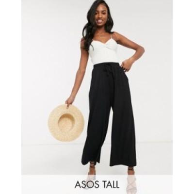 エイソス レディース カジュアルパンツ ボトムス ASOS DESIGN Tall cropped drawstring pants Black