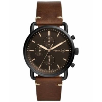 フォッシル メンズ 腕時計 アクセサリー Men's Chronograph Commuter Brown Leather Strap Watch 42mm Brown/Black