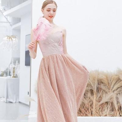 【ANGEL】ベアトップラメシフォン背中編上げAラインロングドレス【送料無料】高品質 ピンク ロングドレス パーティードレス