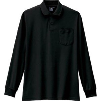 AS-258-13-3L コーコス 制電・防透・消臭長袖ポロシャツ 13ブラック 3L WO店
