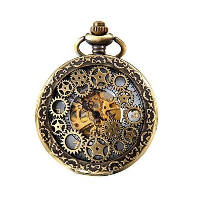 海外取寄品--JewelryWe 自動機械式腕時計 クラシック 中空ギア スケルトン 手巻き スチームパンク レトロウォッチ チェーン付き Bronz