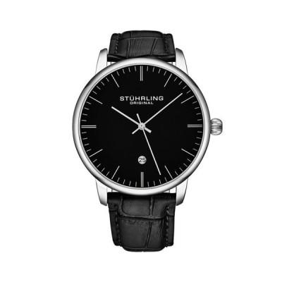 ストゥーリング メンズ 腕時計 アクセサリー Men's Black Leather Strap Watch 43mm