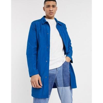 エイソス ジャケット メンズ ASOS DESIGN lightweight trench coat in cobalt blue エイソス ASOS ブルー 青