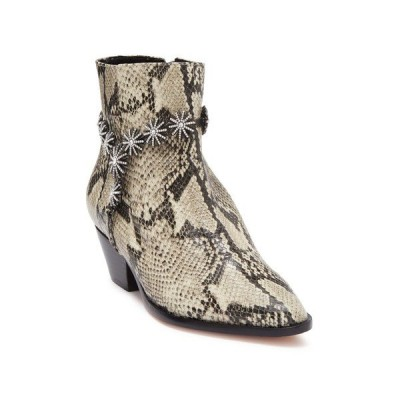 シュッツ レディース ブーツ&レインブーツ シューズ Natiely Leather Snakeskin Embossed Embellished Ankle Boot NATURAL