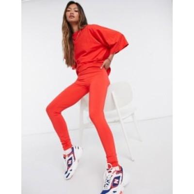 エイソス レディース レギンス ボトムス ASOS DESIGN high waisted cotton modal leggings in red Red