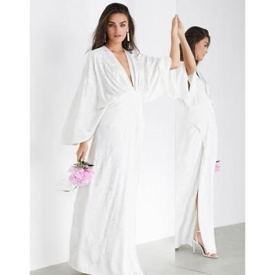 エイソス レディース ワンピース トップス ASOS EDITION Luna embroidered satin kimono wedding dress