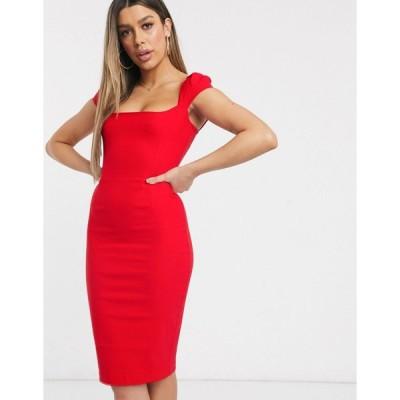 ベスパー ミディドレス レディース Vesper bodycon midi dress in red エイソス ASOS レッド 赤