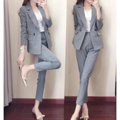 細見え ジャケット スーツ   新作 春 韓国 流行 上品 正装 オフィス レディース 2点セット ロンドン風