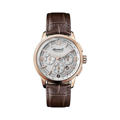 Ingersoll Men's The Regent Quartz Watch with Silver Dial and Brown Leather Strap I00101 並行輸入品