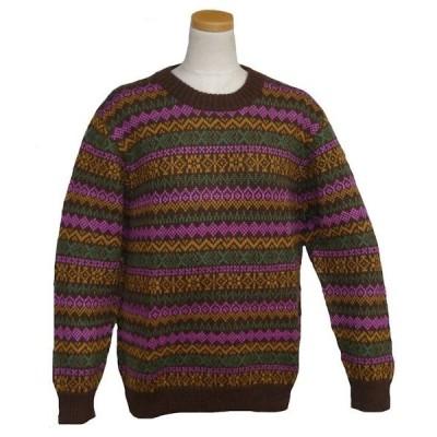 ALC-036-2 アルパカ100%セーター 女性 丸首 伝統柄 トラディショナル柄 暖かい