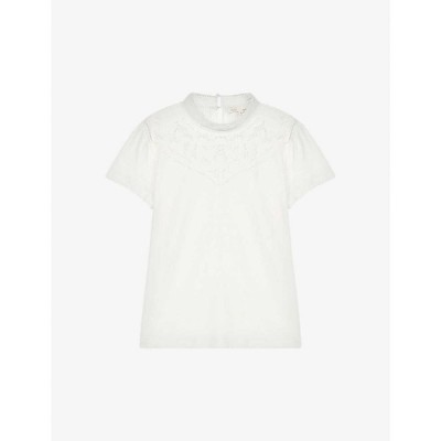 マージュ MAJE レディース Tシャツ トップス Lace-trim cotton and linen-blend T-shirt ECRU