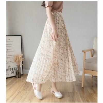 スカート 春新作 フレアスカート ロング 花柄 40代 レディース ロングスカート 体型をカバー aライン 20代 30代 50代  おしゃれ きれいめ