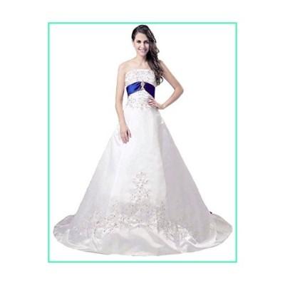 Snowskite Women's Strapless A-line Satin Embroidery Beaded Wedding Dress Ivory&Royal Blue 22並行輸入品