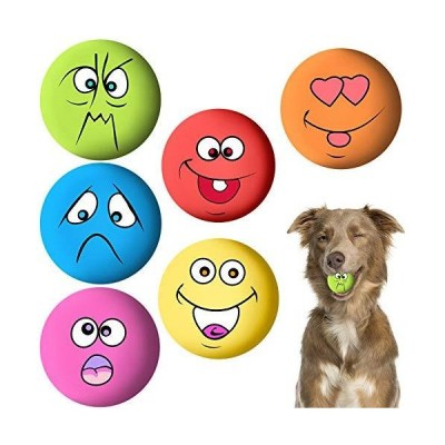 HelloCreate 6Pcs/Set Latex Soft Dog Toys, Rubber Balls Toy/Dog Squeaky Toys