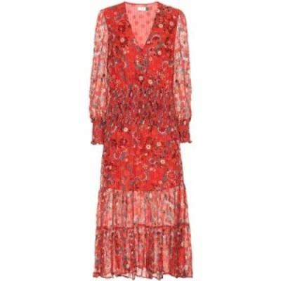 リキソ Rixo レディース ワンピース ミドル丈 ワンピース・ドレス Maya printed silk-blend midi dress Red Teal