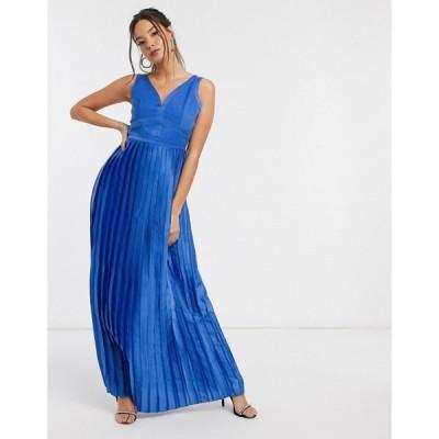 リトル ミストレス Little Mistress レディース ワンピース マキシ丈 ワンピース・ドレス satin maxi dress in blue ライトブルー