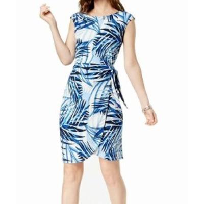 Jessica Howard ジェシカハワード ファッション ドレス Jessica Howard NEW Blue Womens Size 16 Leaf Print Side Tie Sheath Dress