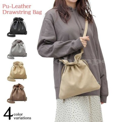 ポイント10倍巾着バッグ巾着ショルダーバッグレディース斜めがけ肩がけレザーヌバックレザーブラックグレーベージュブラウン