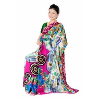 レトロボタニカル柄 カラフルサリー / レトロサリー レトロボタニカルサリー 民族衣装 デコレーション布 インド インドサリー レディース