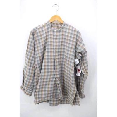 ユーズドフルギ USED古着 チェック柄グランパシャツ メンズ  中古 古着 210916