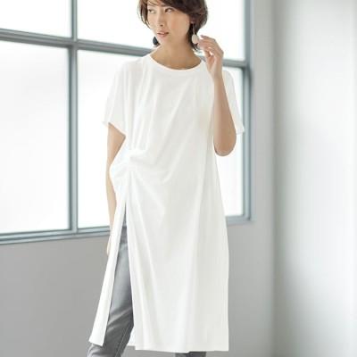 チュニック  ベルーナ 綿100%ツイストデザインスリットチュニック オフホワイト L レディース