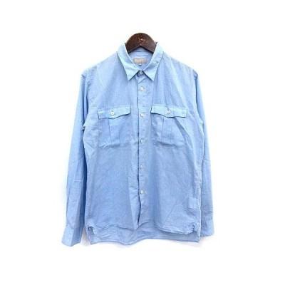 【中古】マーガレットハウエル MARGARET HOWELL シャツ 長袖 薄手 M 水色 ライトブルー /☆G メンズ 【ベクトル 古着】