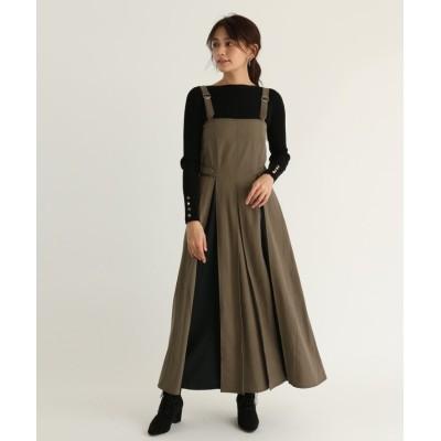 【スコットクラブ】 Ample(アンプル) ステッチデザインジャンパースカート レディース ベージュ M SCOTCLUB