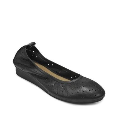 エアロソールズ サンダル シューズ レディース Wooster Ballet Flat Black Leather