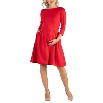 24セブンコンフォート ワンピース トップス レディース Knee Length Fit N Flare Maternity Dress with Pockets Red