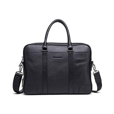 Bison Denim Leather Men's Laptop Bag Briefcase Handbag Messenger (W2942-Black) 並行輸入品