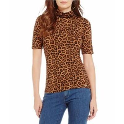 マイケルコース レディース Tシャツ トップス Leopard Print Knit Jersey Short Sleeve Turtleneck Top Caramel