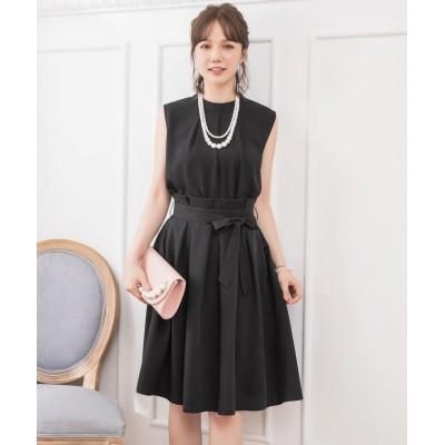 【ドレス スター】 プチハイネックタックブラウス×ウエストリボンAラインスカート レディース ブラック Mサイズ DRESS STAR