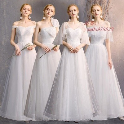 ブライズメイド 二次会 成人式 大人 花嫁 パーティードレス ドレス 大きいサイズ フォーマル 演奏会 ロング丈 袖あり 結婚式 大きいリボン