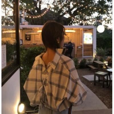 韓国 ファッション レディース トップス ブラウス シャツ チェック Vネック ドルマン バックシャン 長袖 ゆったり カジュアル