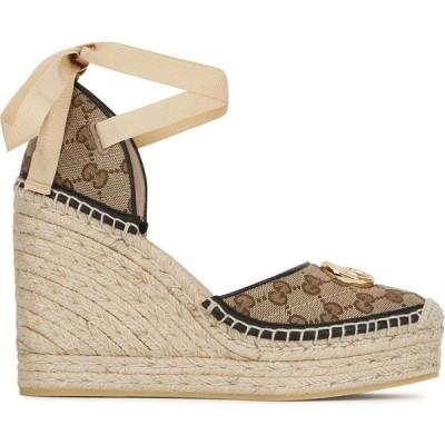 グッチ Gucci レディース エスパドリーユ ウェッジソール サンダル・ミュール シューズ・靴 pilar monogrammed canvas espadrille wedge sandals Natural