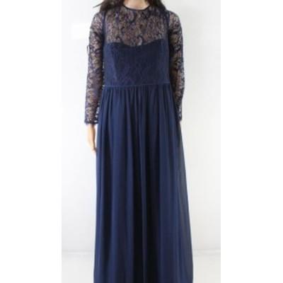 Hayley Paige ヘイリーペイジ ファッション ドレス Hayley Paige NEW Blue Womens Size 14 Floral Lace Illusion Sheath Dress